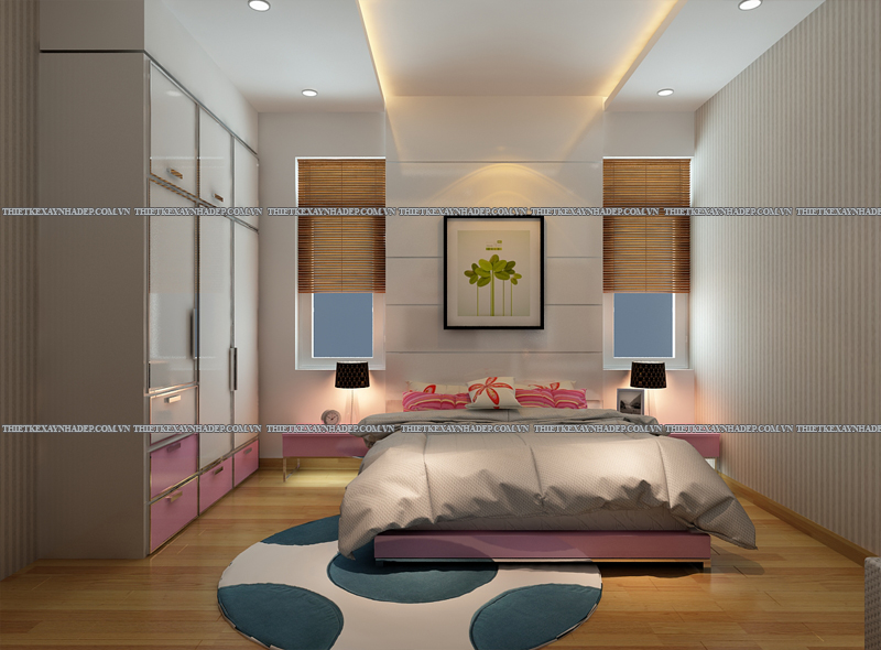 Mẫu thiết kế nội thất phòng ngủ đẹp anh Đăng - chị Thu Ngân Q.2 Phong-ngu-con-gai-1