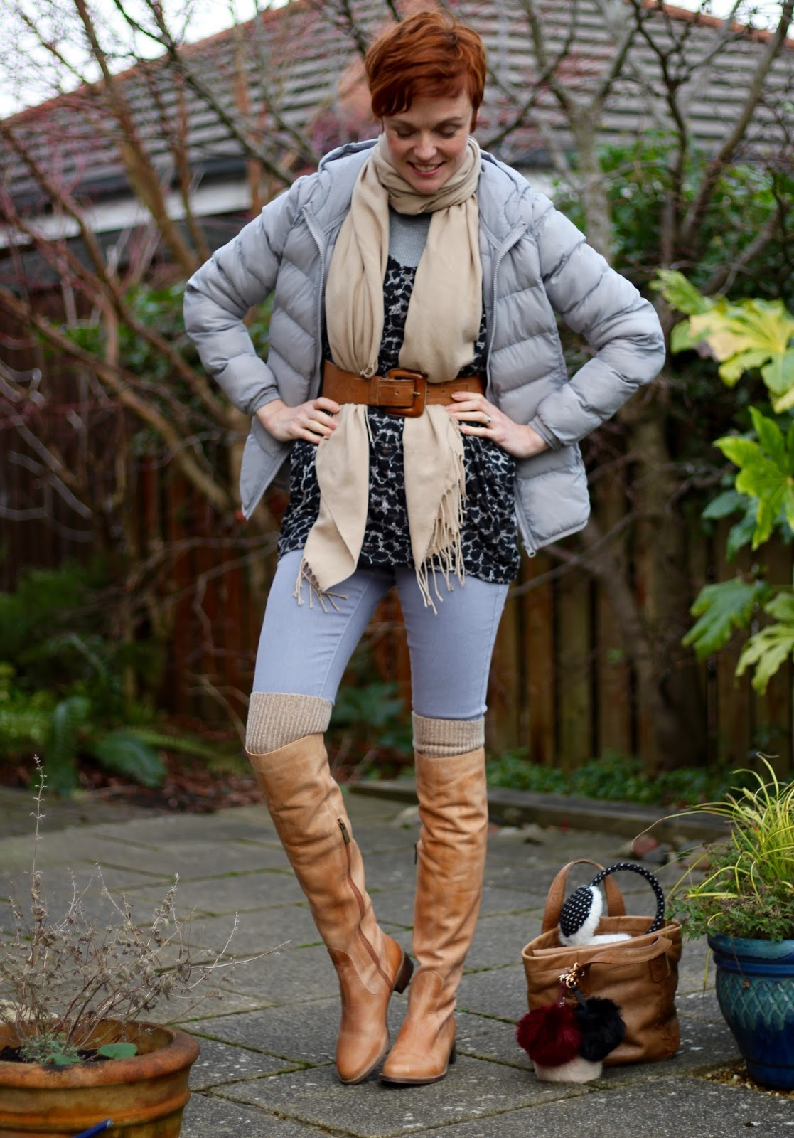 Light tan OTK boots & pale grey | Fake Fabulous