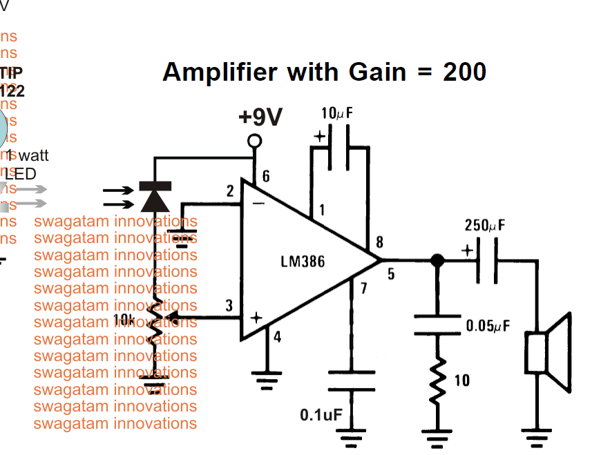 Donovan hisense the above explained li fi circuit can also be tried using a photodiode as shown below where the amplifier section is replaced with a lm386 amplifier ccuart Gallery