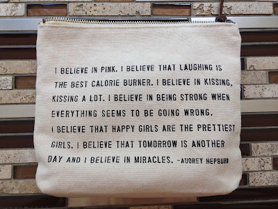 audrey hepburn, positive quote, bikini bag, I believe in pink