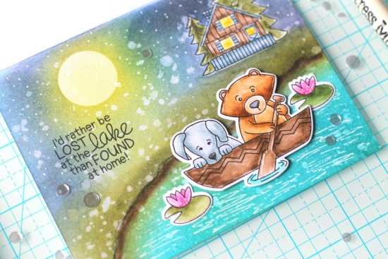 Lake Scene Card by April Guest Designer Svetlana Pavlova | Winston's Lake House Stamp Set by Newton's Nook Designs #newtonsnook #handmade