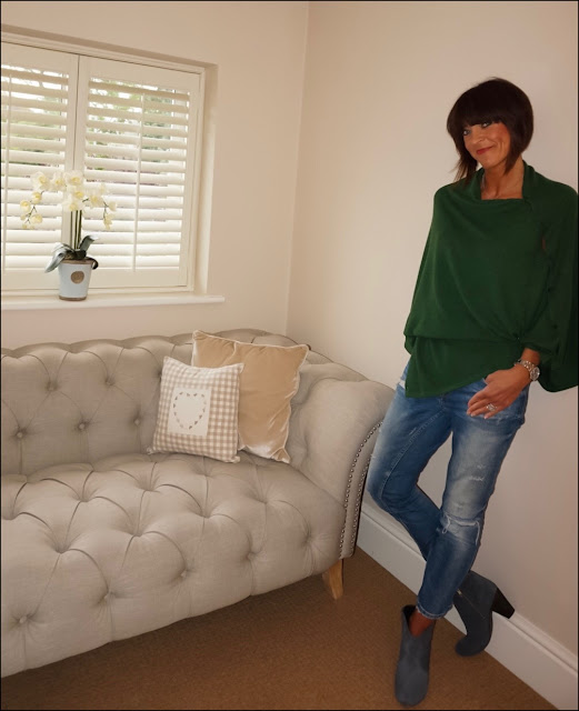My Midlife Fashion, Mimi and those buttoned cashmere shawl, zara distressed cigarette length jeans, hush thornton ankle boots
