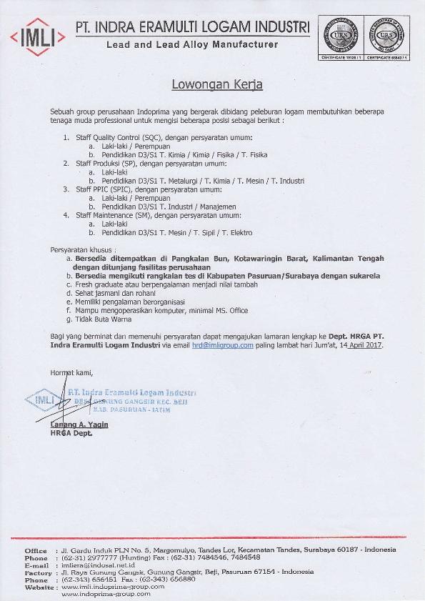 Lowongan Kerja PT Indra Eramulti Logam Industri Bulan April 2017