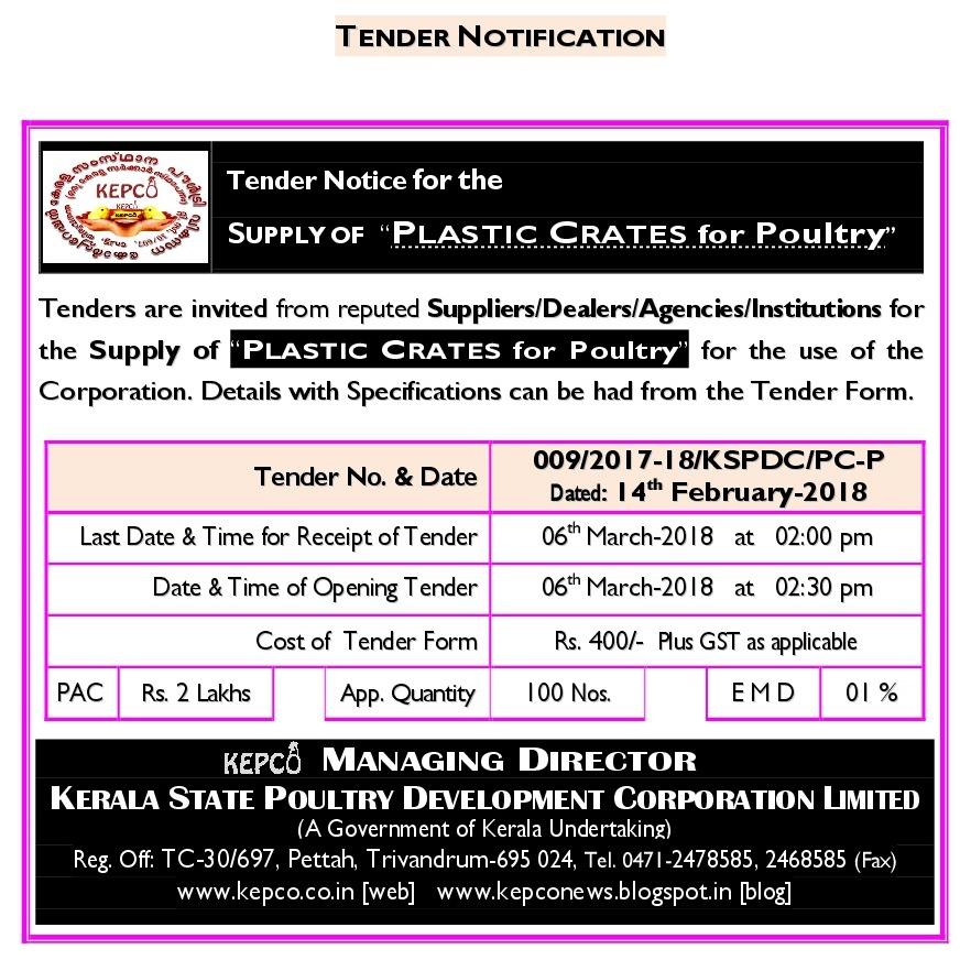 Supply of Plastic Crates for Poultry