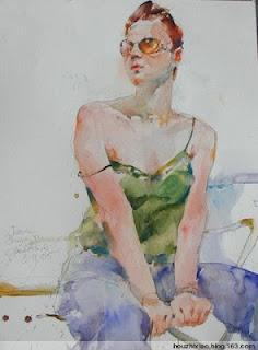 A watercolour portrait by Charles Reid