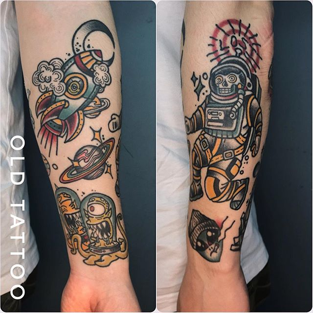 full forearm astronaut tattoo