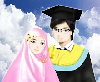kartun pasangan remaja muslim dan muslimah berjilbab