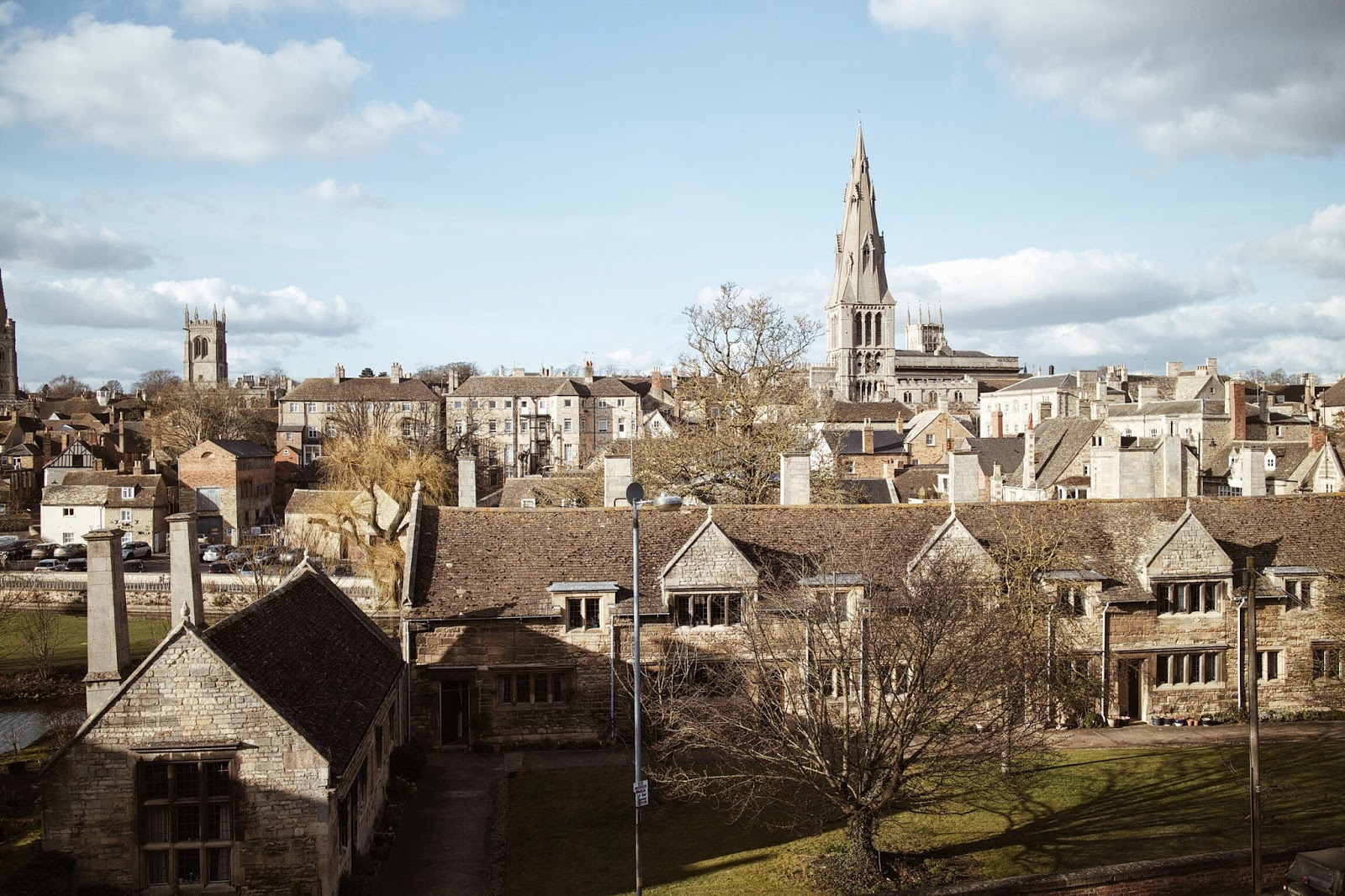 view of stamford from the george hotel