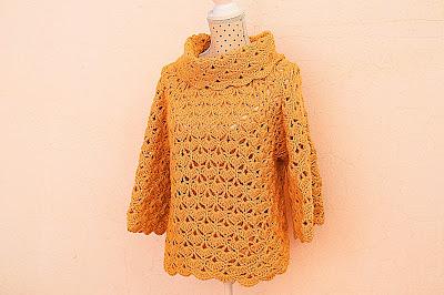 Jersey amarillo a crochet y ganchillo 2