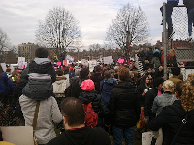 Crowds gather at Boston Common to watch speakers  Mayor Walsh, Senator Warren and Senator Markey  at the Boston Women's March