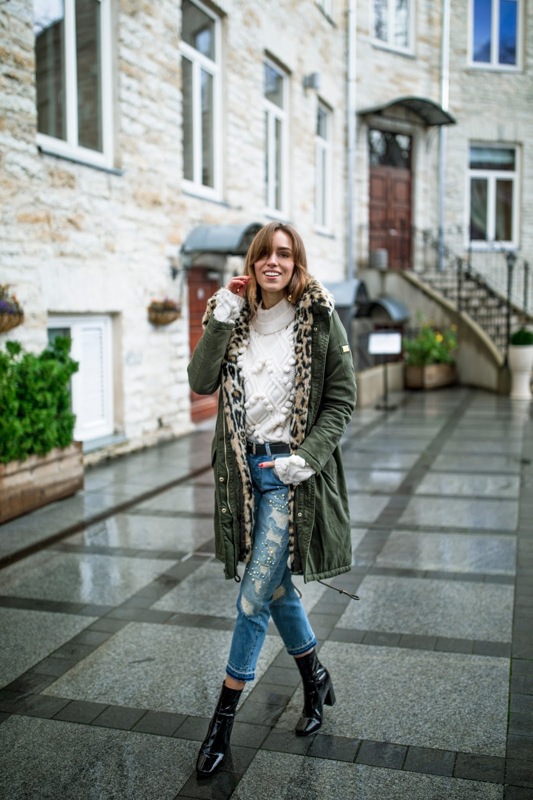 parka jacket white sweater boyfriend jeans boots outfit fall
