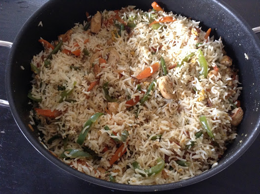 Indo-Chinese Chicken Fried rice (Without Soy sauce)