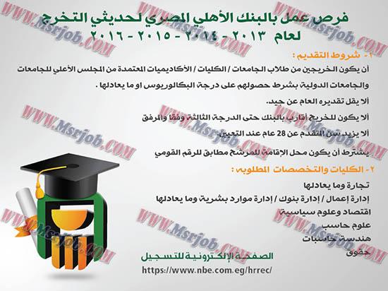 """الاعلان الرسمي لوظائف """"البنك الاهلى المصري"""" لحديثى التخرج دفعات 2013 حتى 2016"""