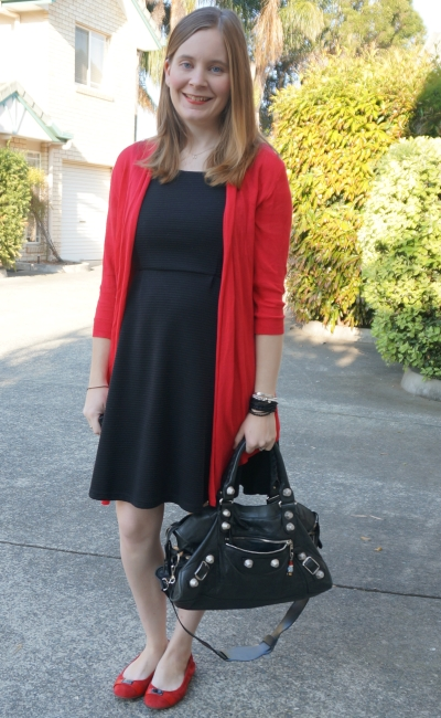 Away From Blue | LBD fit and flare office wear red cardi and flats
