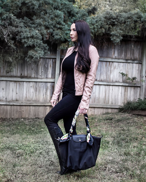Blush Toned Faux Leathe Biker Jacket with Ponte Pant Leggings and a Large Longchamp Neo Tote www.MalenaHaas.com