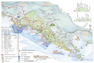 Mapa de las Cinco Tierras o Cinque Terre.
