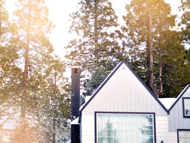 white house, black trim, trees