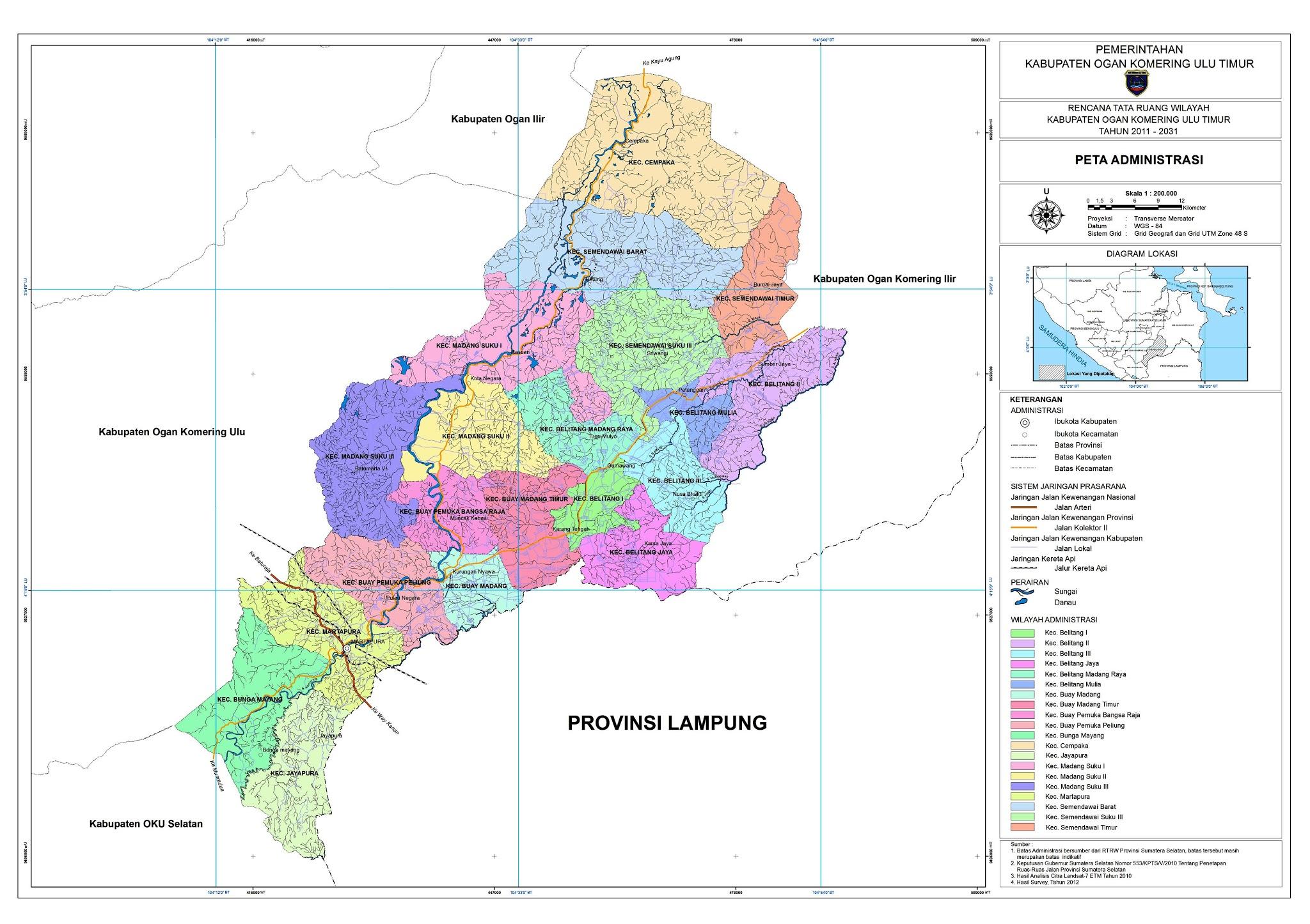 Peta Kabupaten Ogan Komering Ulu Timur