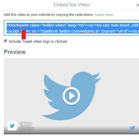 Embed Twitter Hosted Video