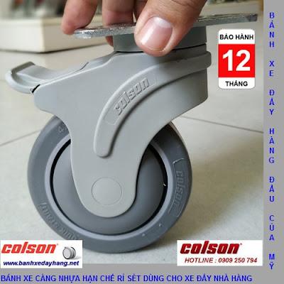 Bánh xe cao su lăn êm không ồn Colson Mỹ 4 inch | STO-4856-448BRK4 banhxedaycolson.com