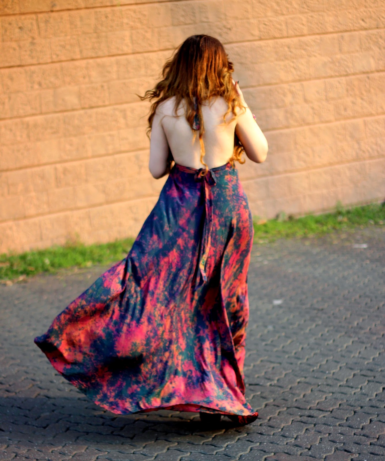Batik Silk Backless Maxi-Dress