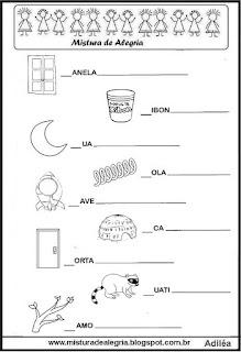 Completar palavras com letras alfabeto