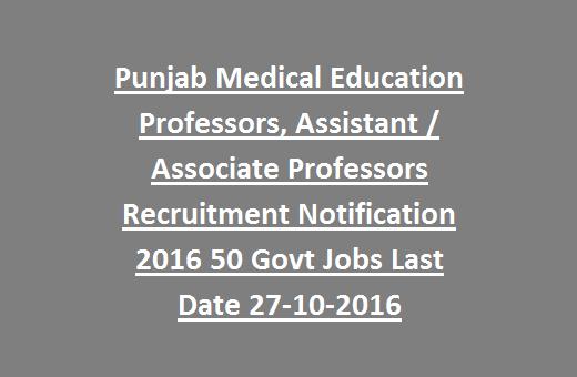 Punjab Medical Education Professors, Assistant / Associate
