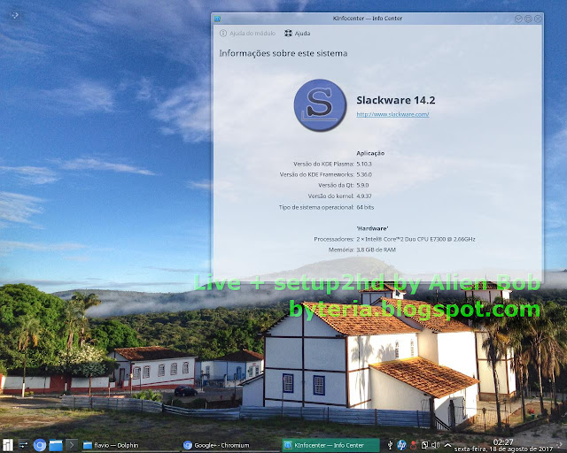 Slackware com Plasma 5 KDE instalado a partir da Live + Script by Alien Bob