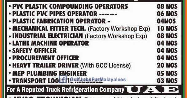 Urgent Jobs For A Plastic Company In Qatar Uae Gulf Jobs For