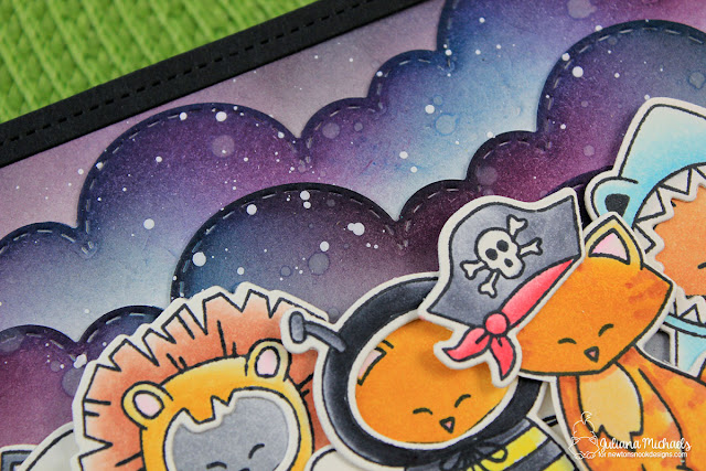Background Detail Image of Happy Halloween Card by Juliana Michaels featuring Newton's Costume Party Stamp Set by Newton's Nook Designs