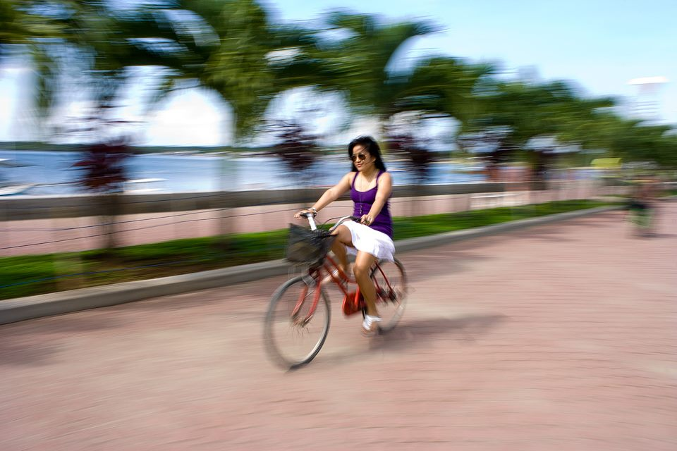 Biking along Puerto Princesa Baywalk