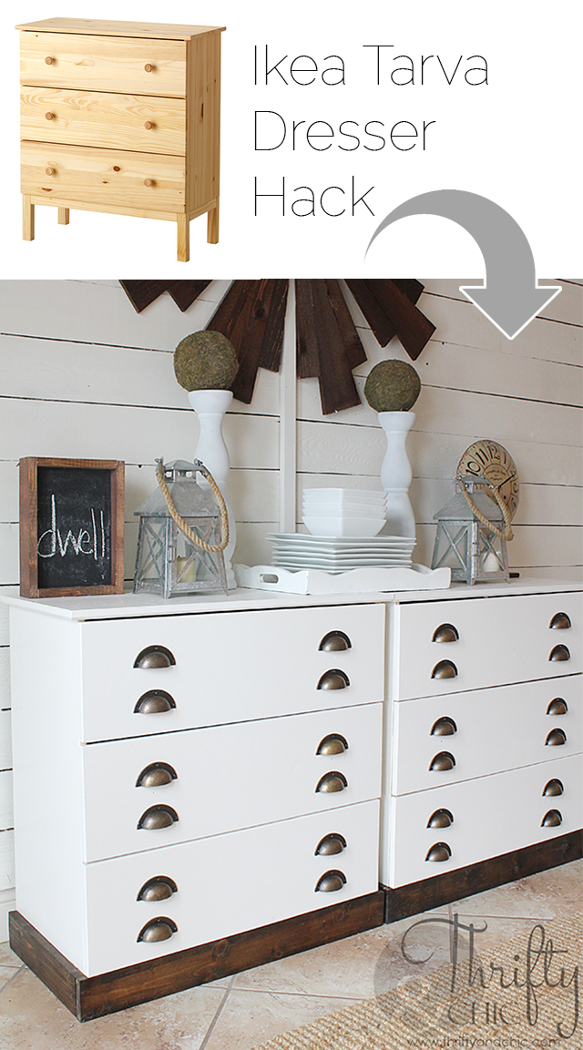 Ikea Tarva dresser hack -dresser turned into printers console style buffet table!