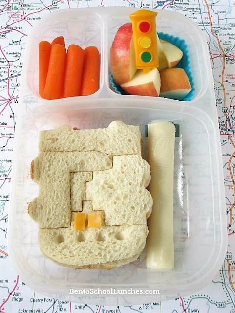 Transportation themed lunch created with UpChefs sandwich cutter
