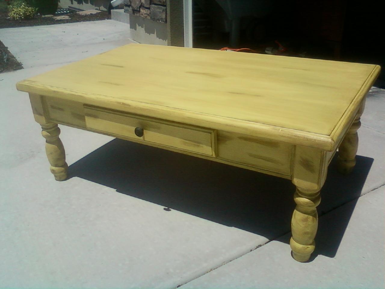 Mustard yellow coffee table