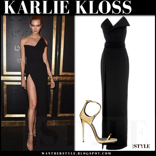 Karlie Kloss in black one shoulder gown brandon maxwell and gold sandals giuseppe zanotti darcie what she wore