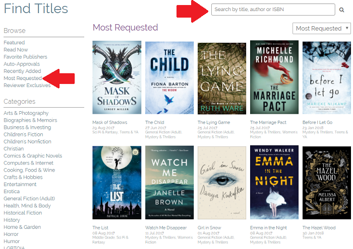 Getting started with NetGalley - finding books on NetGalley