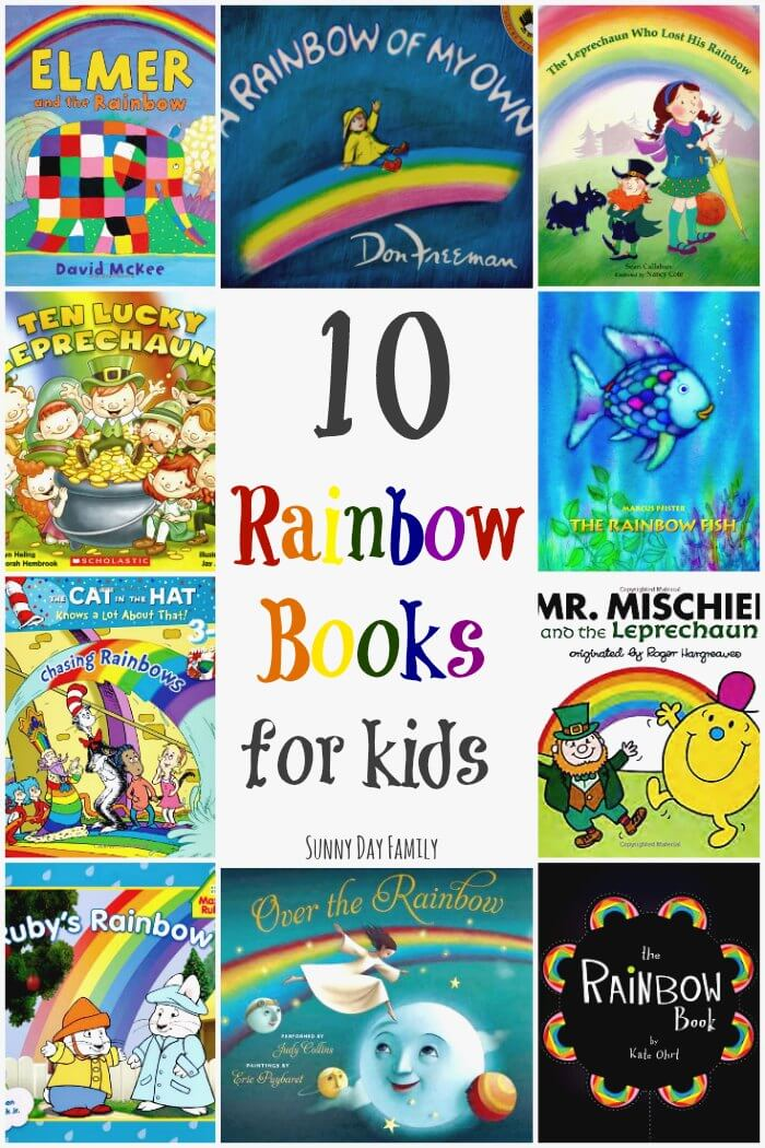 10 Rainbow Books for Kids! Perfect for a preschool rainbow theme or a St. Patrick's Day lesson, these rainbow children's books are great for teaching children about colors or just for fun!