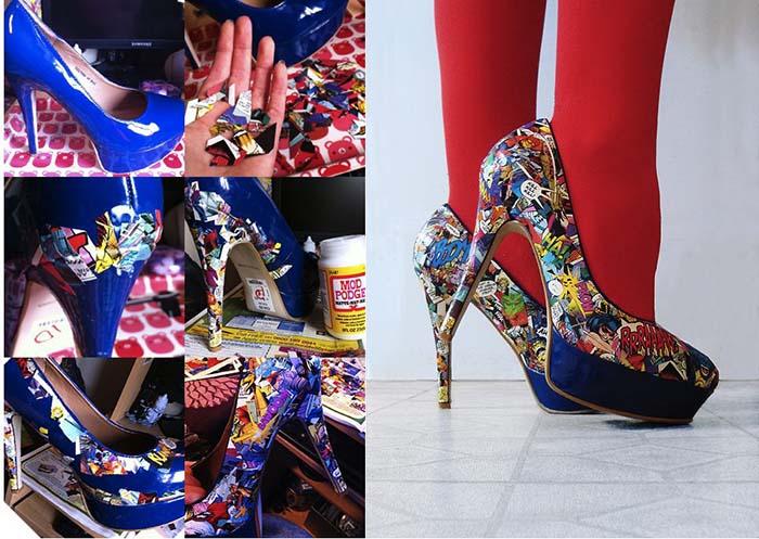süper kahraman baskılı topuklu ayakkabı