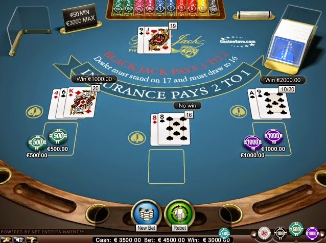 CasinoEuro Blackjack Screen