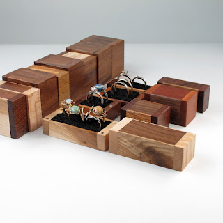 Handmade wooden ring boxes, walnut, maple, olive, mahogany