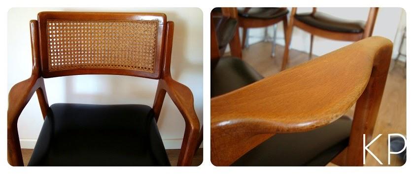 Asientos daneses en valencia. Sillas de madera y skay negro de época. Sillas vintage Valencia.