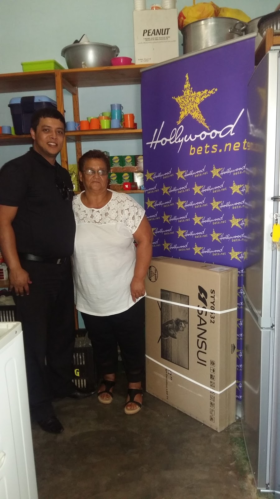 Silwerstroom Crèche staff members are thankful for a fridge, TV and some blankets donated by Hollywoodbets Altantis