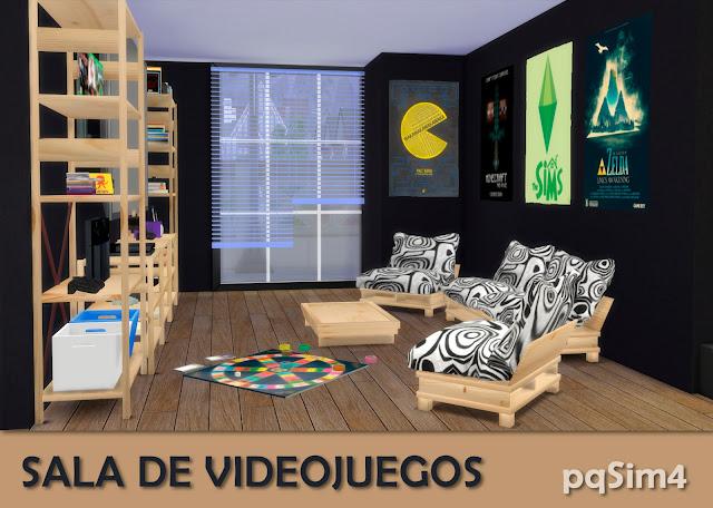 Detalle sala videojuegos sims 4 custom content Blanca y negra.