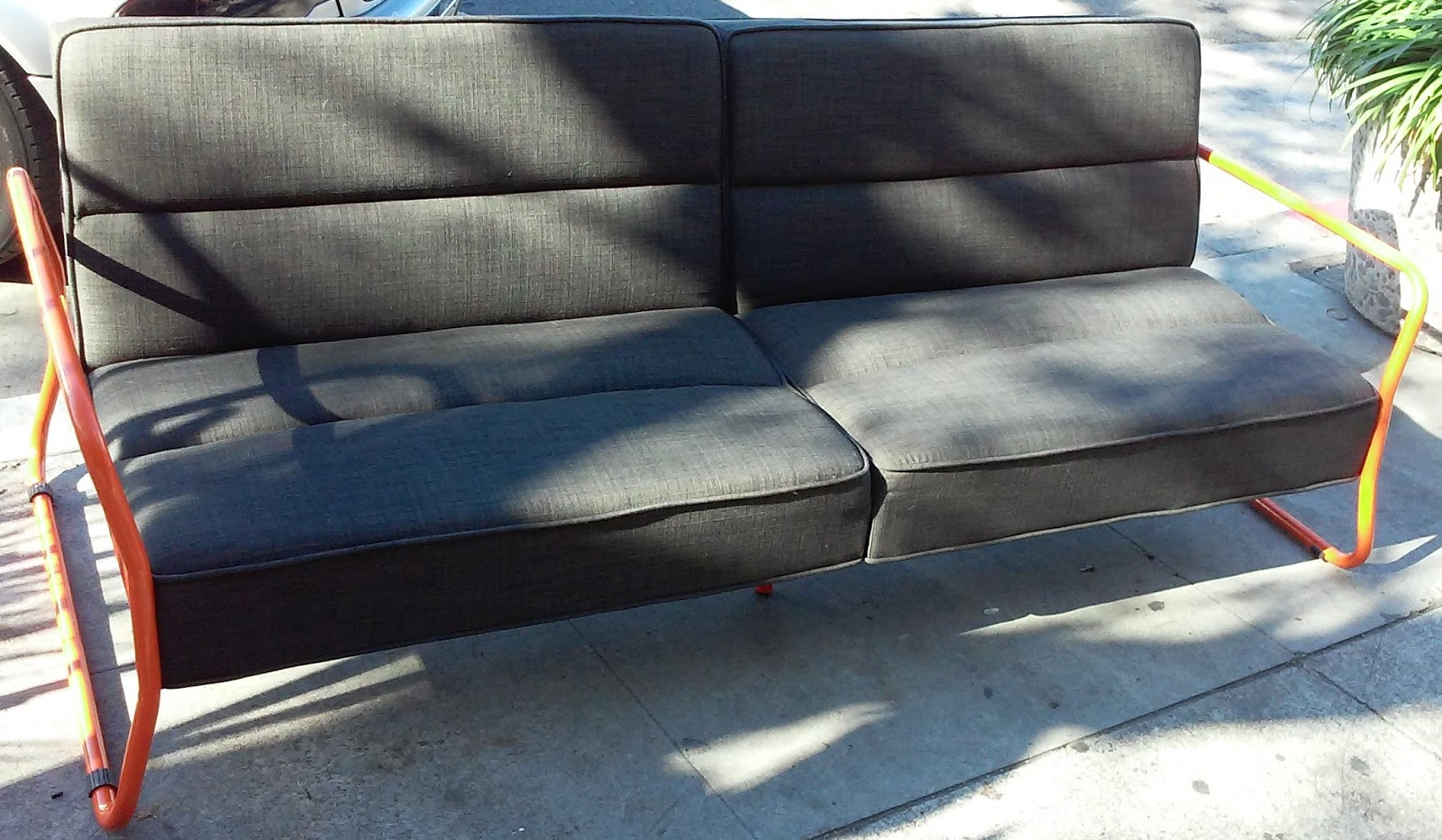 grey tweed sectional sofa outdoor furniture table uhuru and collectibles sold folding