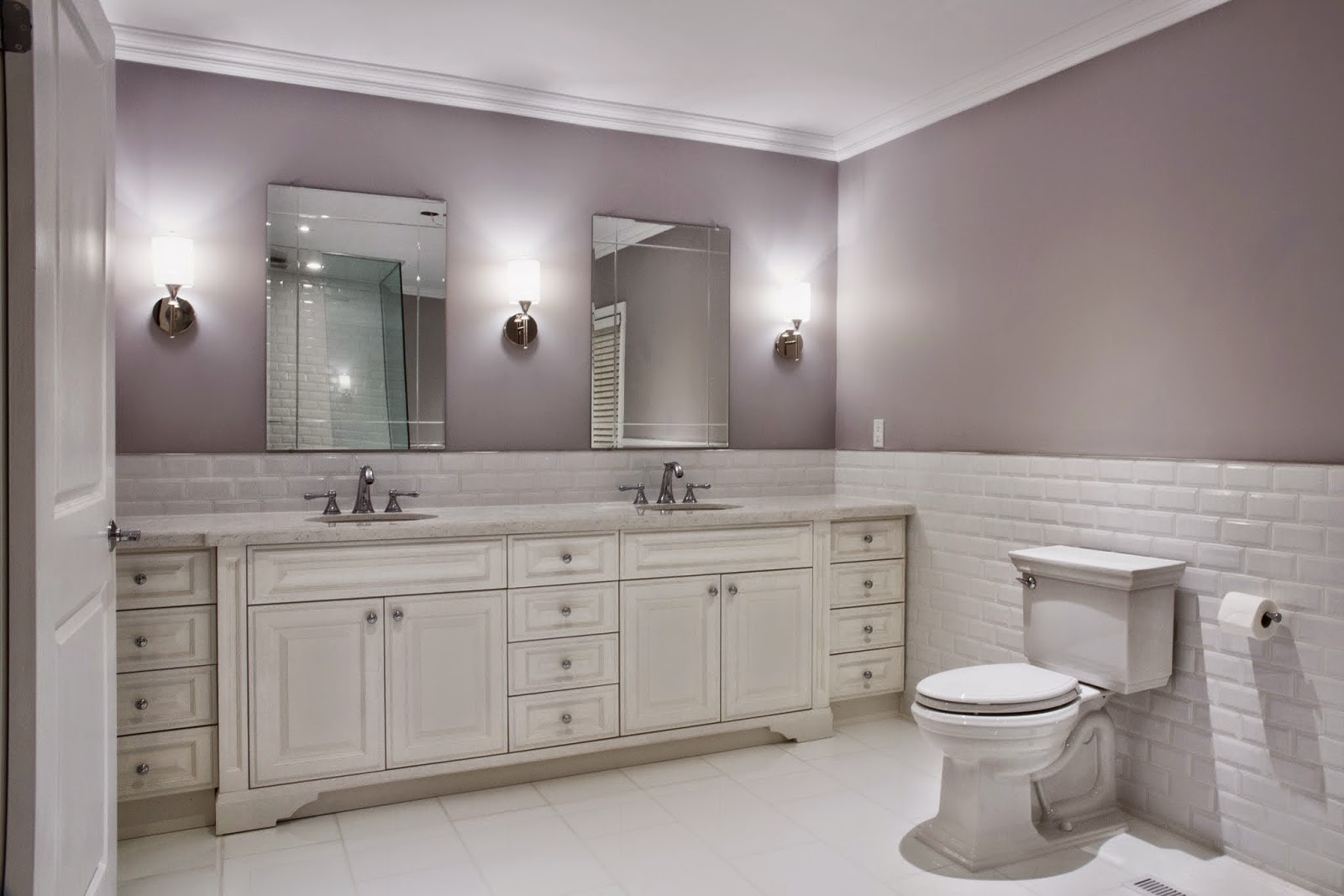 Benjamin Moore Cement Grey Used In Both Master Bedroom And Bathroom But The Color Ears Diffe With White Yellow Lighting