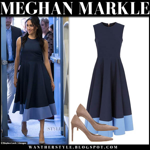 Meghan Markle in navy two-tone midi dress by roskanda royal tour australia outfits october 19