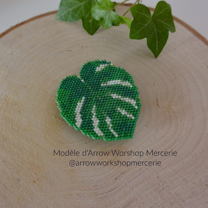 philodendron monstera arrow workshop mercerie, tissage brickstitch, perles delicas miyuki, hellocestmarine