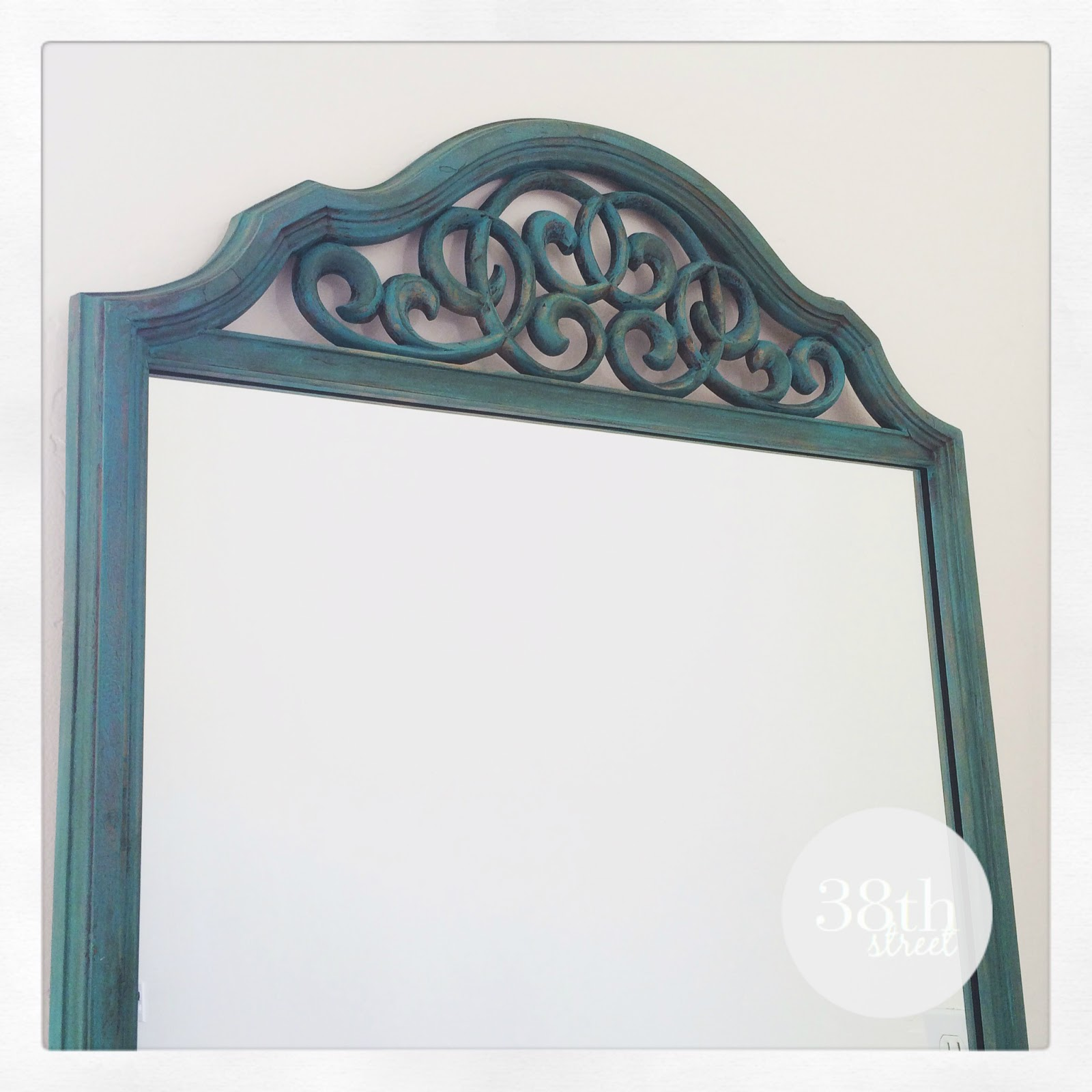 turquoise patina, refinished mirror, painted mirror, chalk paint, annie sloan, florence