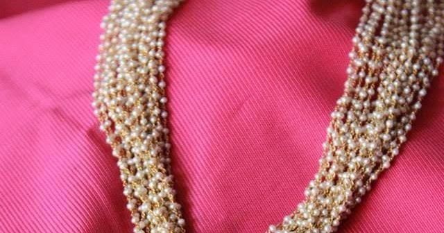Multi String Basra Pearls Gold Ruby Pendant