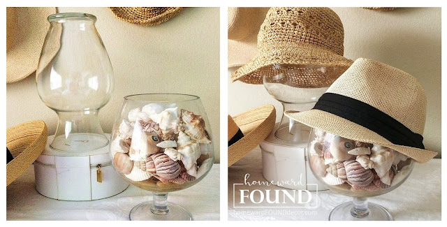 hats, straw hats, summer, summer decorating, summer home decor, home decor, decorating, neutral home decor, farmhouse style, beach style, cottage style, vintage, seashells, glass vases